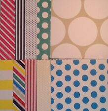 """10 sheets 6""""x6"""" SPOTS & STRIPES BRIGHTS, craft paper, DOCRAFTS PAPERMANIA PACK C"""