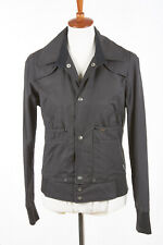 Womens G-STAR Jacket L in Charcoal Black Cotton-Nylon Snap Front Raw IRON BOMBER