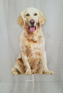 "Golden Retriever Puppie Metal Yard Stakes sign 18"" tall"