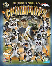 DENVER BRONCOS 2016 Super Bowl 50 Champions 8X10 Team Composite Photo Gold #/