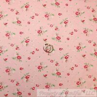 BonEful Fabric FQ Cotton Quilt Pink Baby Girl Green Leaf Rose Flower Shabby Chic