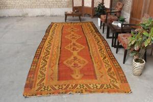 Geometric Vintage Handmade Traditional Wool Kilim Runner Area Rug 5x12 Carpet