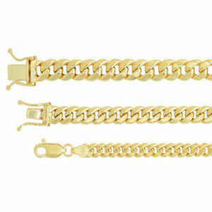 "14k Yellow Gold 4.5mm-7mm Miami Cuban Link Necklace Bracelet Sz 8""-9"""
