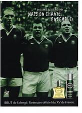 PUBLICITE ADVERTISING  2003   FABERGE  BRUT eau de toilette pour le XV de France