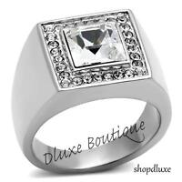 MEN'S 3.55 CT PRINCESS CUT SIMULATED DIAMOND SILVER STAINLESS STEEL RING SZ 8-13
