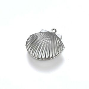 3 x Small Stainless Steel Clam Shell Locket Pendants - Clamshell