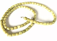 Vintage Scottish Agate Green Glass Barrel Bead Necklace 26 Inches Long