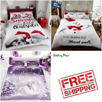 Christmas Bedding Set Duvet Quilt Cover With Pillow Case Single Double King Size
