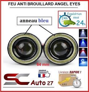 feu anti brouillard led angel eyes universel diam 64 mm bleu toute marque