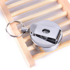 Stainless Silver Retractable Key Chain Recoil Keyring Heavy Duty Steel RF ZB