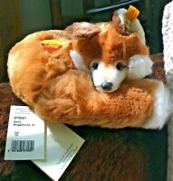 VINTAGE STEIFF XORRY RED FOX W/ Button & Yellow Tag Made in Germany