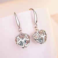 Muye 925 Sterling Silver Crystal Hollow Heart Drop Earrings For Women Jewelry