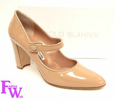 New MANOLO BLAHNIK Size 10 CAMPY Nude Patent Mary Jane Heels Pumps Shoes 41