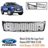 Black Grille No Logo Ford Raptor2017 With 3 LED For Ford Ranger T6 XLT 2012-2014
