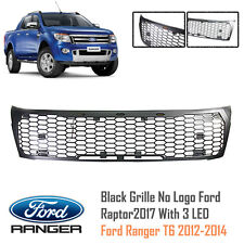 Black Grille No Logo Ford Raptor2017 With 3 LED For Ford Ranger T6 XLT 2012-2014