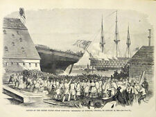 USS Steam Corvette Richmond, Norfolk Virginia VA Navy Yard 1860 Antique Print