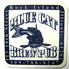 BLUE CAT BREWPUB Beer COASTER, Mat with CATFISH, Rock Island, ILLINOIS 1997