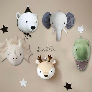 3D Felt Stuffed Wall Hanging Animal Head Doll Plush Toy Baby's Room Decor Gift