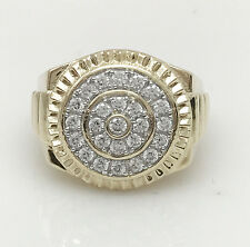 Men's 10K Yellow Gold Ring Micro Pave CZ Setting Size 10