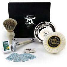 Butterfly Style DE safety Razor Shaving Soap Bowl and Super Badger Hair brush