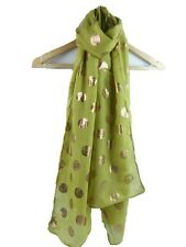 MUSTARD SCARF WITH ROSE GOLD FOIL SPARKLE DOTS SPOTS LADIES SUPERB SOFT QUALITY