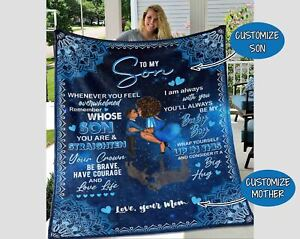 Personalized To My Son Blanket Gift From Mom, Black Boy Magic Blanket, Son Gift