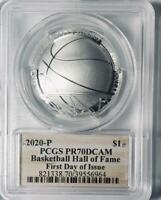 2020-P- Basketball Hall of Fame Silver Commemorative Dollar - PCGS PR-70 DCAM