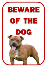 BEWARE OF THE DOG - STAFFORDSHIRE BULL TERRIER BROWN - LAMINATED SIGN FUN