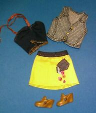 Barbie Doll Fashion Fever Yellow skirt Denim vest Gold clogs Outfit Clothes Lot