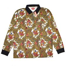 NWT Supreme NY Men's Paisley Floral Print Logo Zip Up LS Polo Shirt M AUTHENTIC