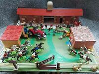 VINTAGE BRITAINS FARM YARD STABLES , HORSES, PONYS , FIGURES , OUTBUILDING +MORE