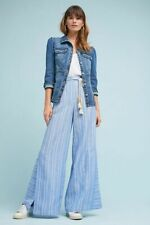 Anthropologie Pants Trousers Striped Linen Wide Legs Blue Summer Beach Size 10P