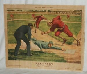 """1930's, Kessler's Private Blend Whiskey, """"Safe at Home"""" Framed Baseball Print"""