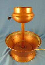 Vintage copper & brass lamp bowl base rustic primitive cabin style family room