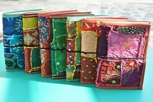 """Pack of 50, Handmade Paper Patch Work Fabric Diary, Gift, 7"""" x 5"""""""