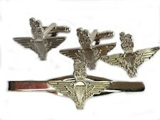 Parachute Regiment Cufflinks Lapel Badge Tieclip Military Gift Set silver colour