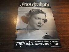 NOVEMBER 1952 JEAN GRAHAM PIANIST CONCERT PROGRAM TOWN HALL NEW YORK CITY