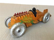 Cast Iron Orange Racing Race Car Model with Driver and Moving Red Pistons XRACE