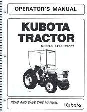 kubota l295 tractor operator's manual w/wiring diagram & maintenance list