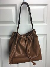 KATE LANDRY Large Brown Laser Cut Handbag Purse Tote