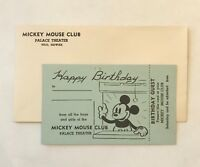 1930's MICKEY MOUSE CLUB Birthday Invitation Card at Hilo Palace Theater, Hawaii