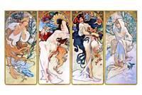 "Alphonse Mucha `Four Seasons'  CANVAS ART PRINT Poster 8"" X 12"""