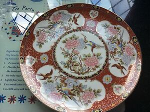 """CHINA PLATE. 10"""" VERY HIGHLY DECORATED WITH BIRDS. NEVER DISPLAYED"""