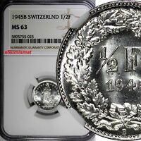 Switzerland Silver 1945 B 1/2 Franc NGC MS63  Helvetia KM# 23 (025)