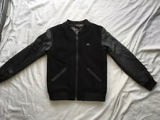QUIKSILVER 12y Black Bomber Jacket Faux Leather Sleeves Used Vgc High School