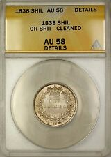 1838 Great Britain 1S One Shilling Silver Coin ANACS AU-58 Details Cleaned