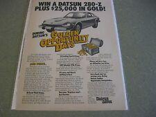 1976 - Win a Datsun 280-Z Plus $25,000 in Gold - magazine Ad