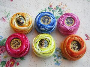 mercerie ancienne rare 6 pelotes DMC mouliné variation couleur 20 m collection