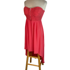Poetry Strapless High Low Dress Pink Juniors L Large