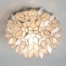Natural Capiz Shell Ceiling Lamp ~ Lotus Petal Flush Mount Fixture ~ Handmade